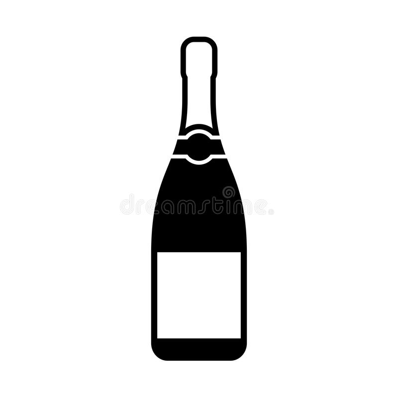 Champagne bottle silhouette icon. Champagne bottle black silhouette vector icon vector illustration