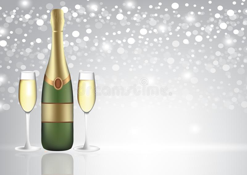 Champagne bottle with two full glasses on blurred background royalty free illustration