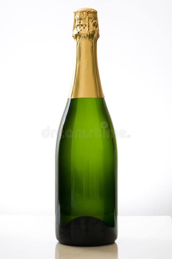 Champagne bottle. On white background stock photography