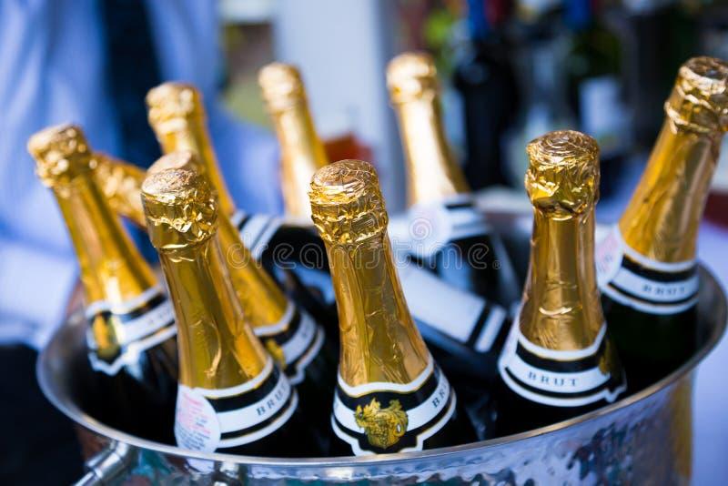 Champagne Bottles Brut pour le pain grillé au mariage image libre de droits