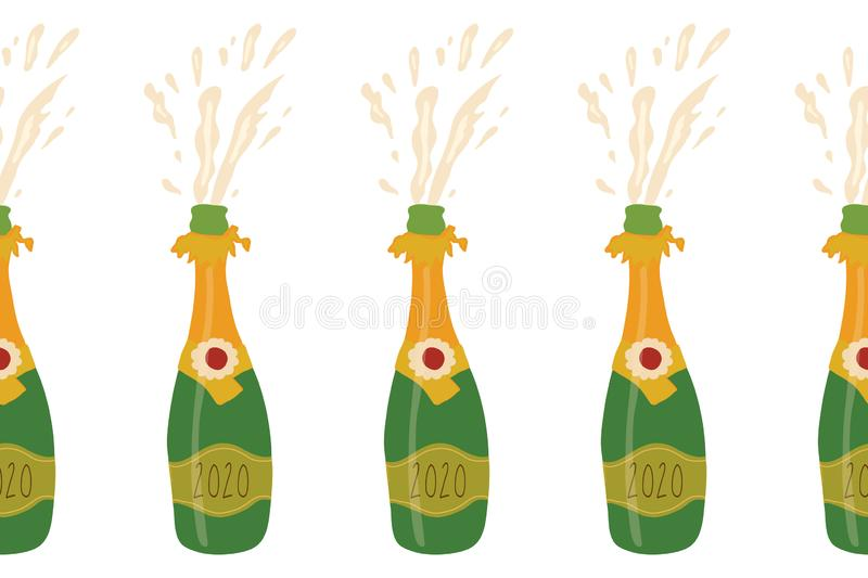 Champagne bottles seamless vector border. Repeating party background with exploding sparkling bottles. Party banner. Use stock illustration