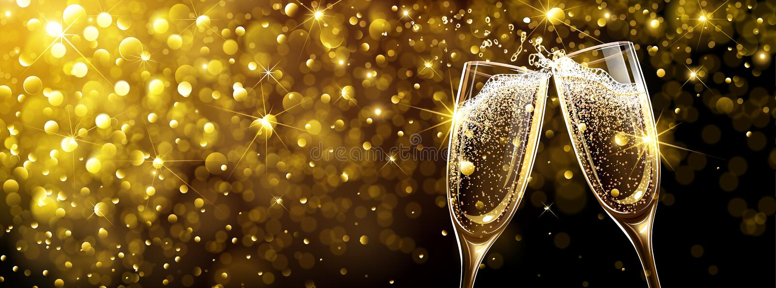 New Year`s background with Champagne vector illustration