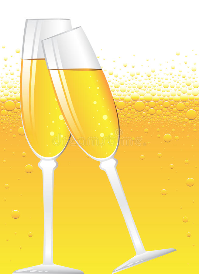 Champagne bubbles. With place for your text vector illustration
