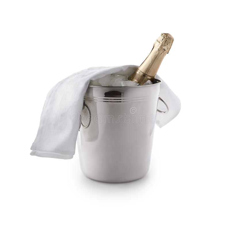 Champagne bucket. With ice and bottle on white background stock image