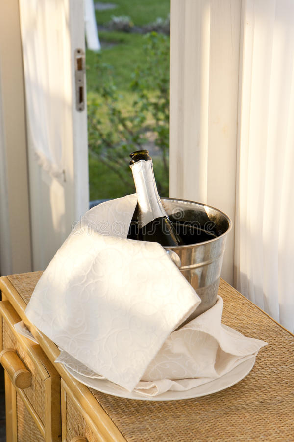 Champagne in a bucket stock image