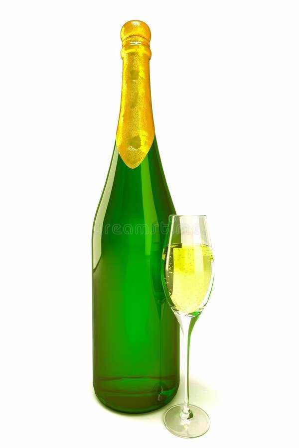 Champagne buteljerar och exponeringsglas royaltyfri foto