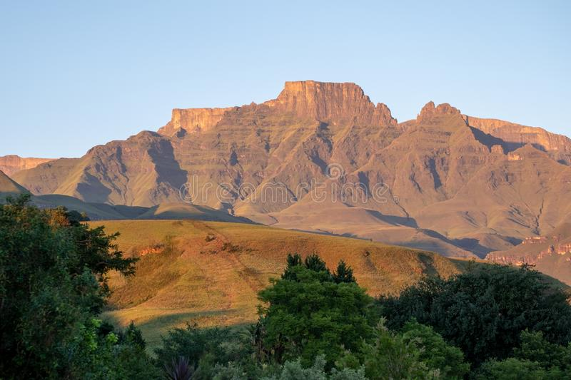 Champagne Castle, Cathkin Peak and Monk`s Cowl: peaks near Winterton forming part of the central Drakensberg, South Africa stock photo