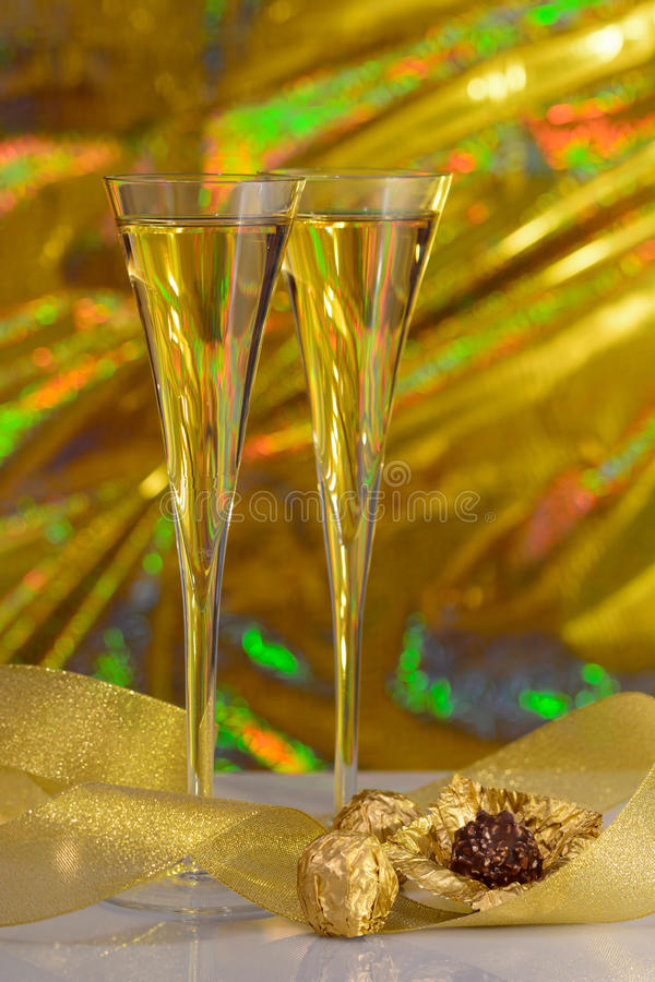 Champagne And Chocolates Stock Photo
