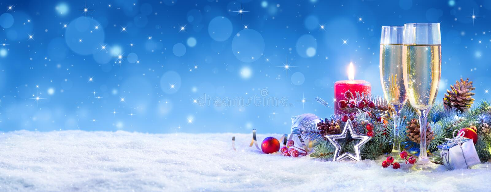 Champagne For Christmas Celebration royalty free stock images