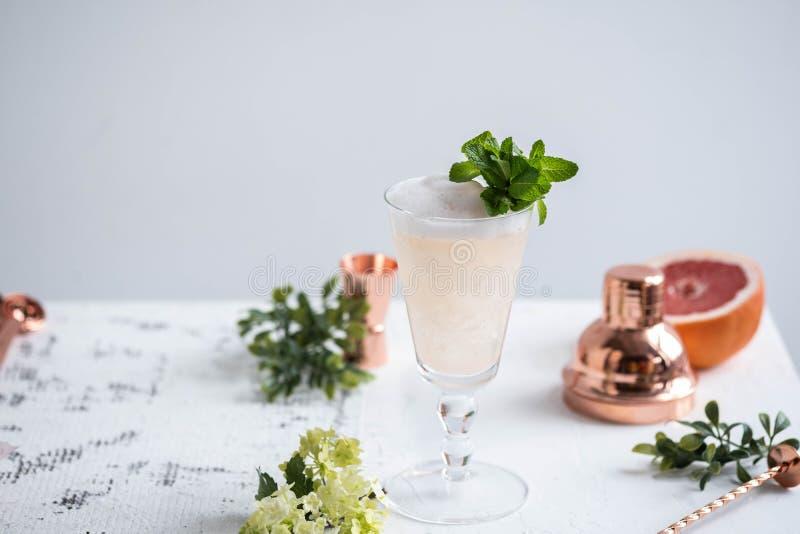 Champagne Cocktail avec la boisson alcoolisée et le pamplemousse Copiez l'espace photo stock