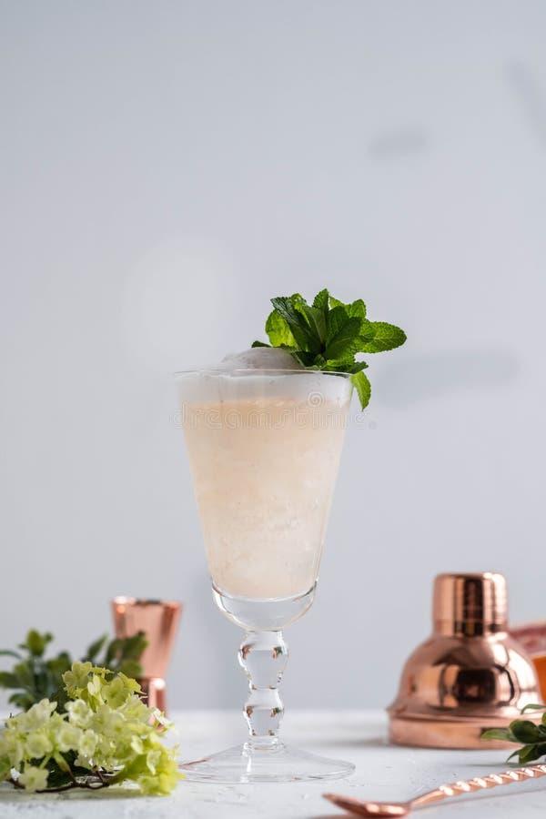 Champagne Cocktail med starksprit och grapefrukten kopiera avstånd royaltyfri foto