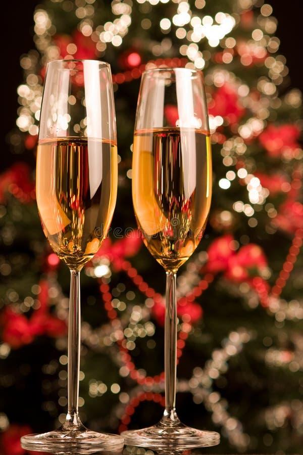 Champagne com Xmas fotos de stock