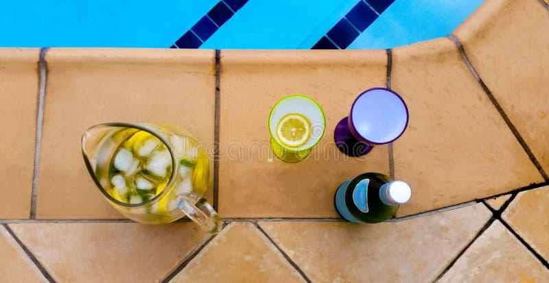 Champagne Coolers dallo stagno - vetri ed immagine di vino di plastica variopinti con frutta e la bottiglia di pieno di bolle fotografia stock