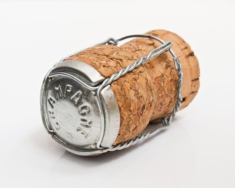 Champagne Cork auf Weiß stockfotografie