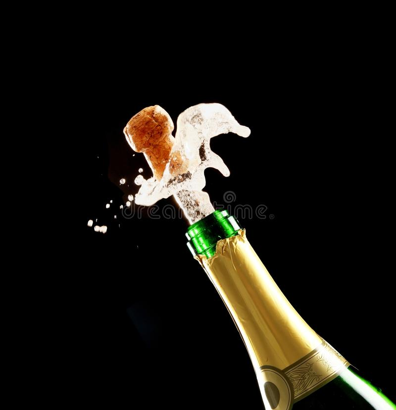 Champagne Cork and Bottle stock photography