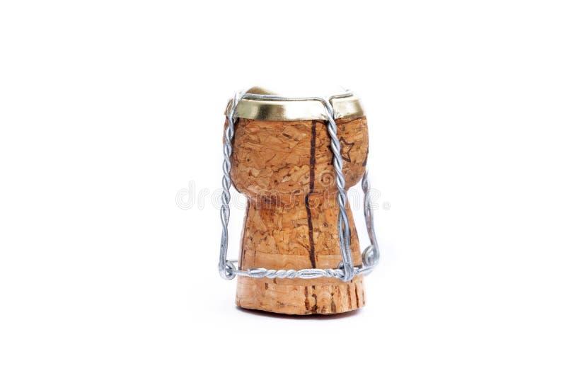 Champagne Cork - op Witte Achtergrond wordt geïsoleerd die stock foto