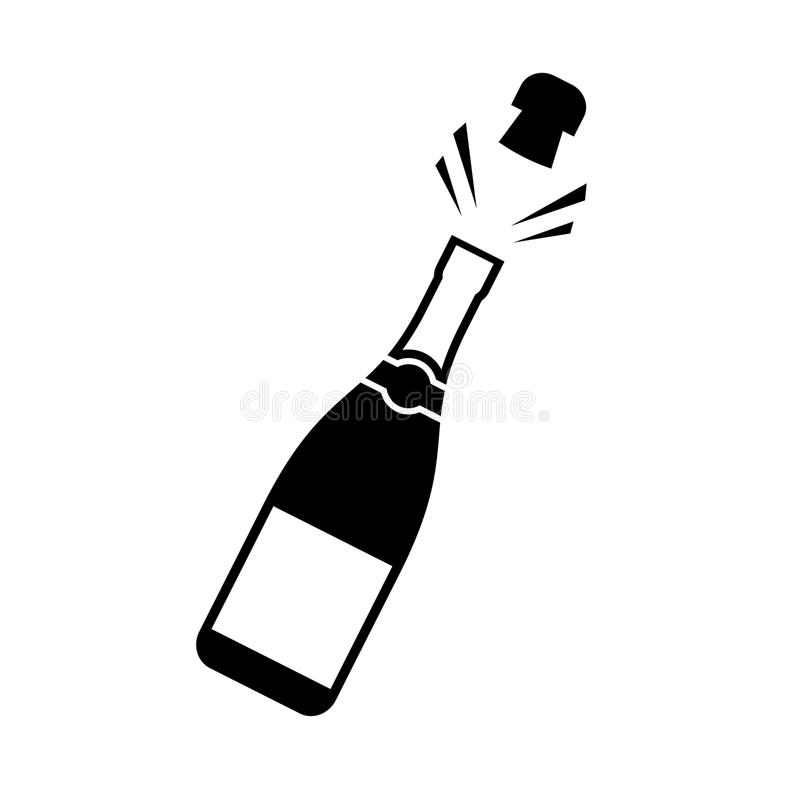Champagne cork popping icon stock illustration