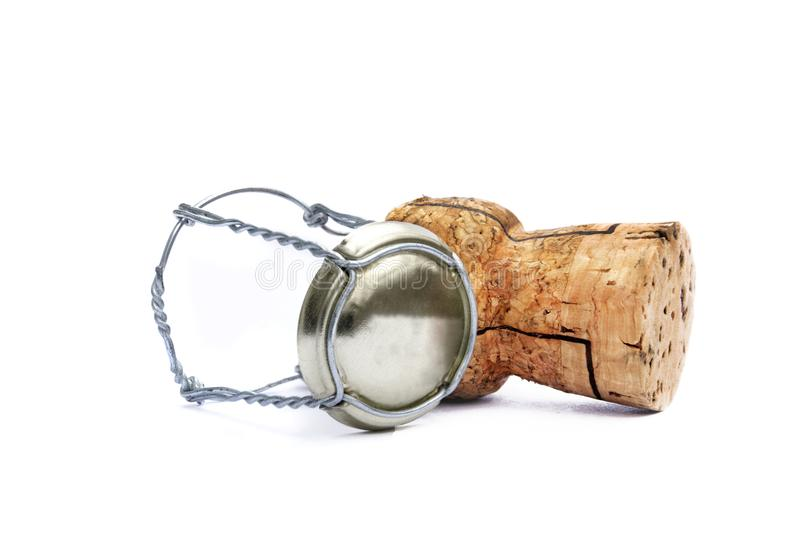 Champagne Cork - On White Background stock photo