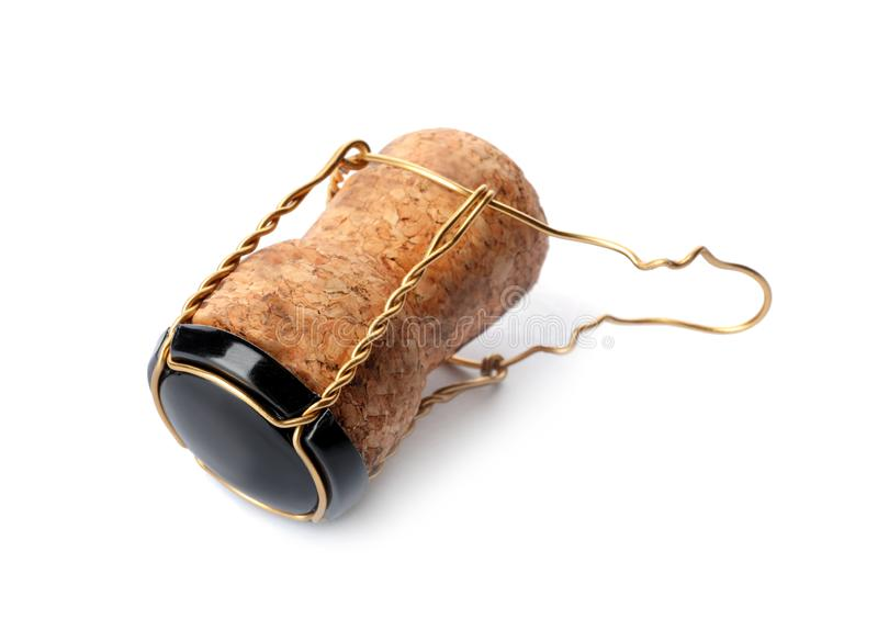 Champagne cork with wire cage isolated. On white royalty free stock images