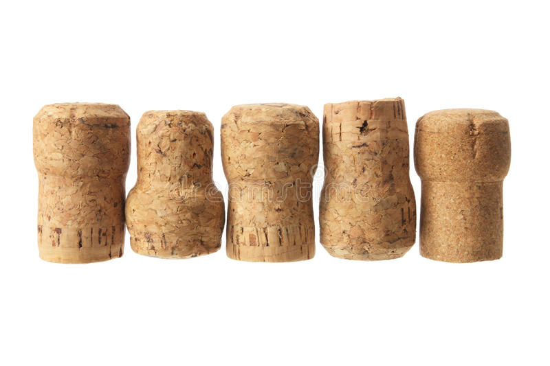 Champagne Corks. On White Background stock image