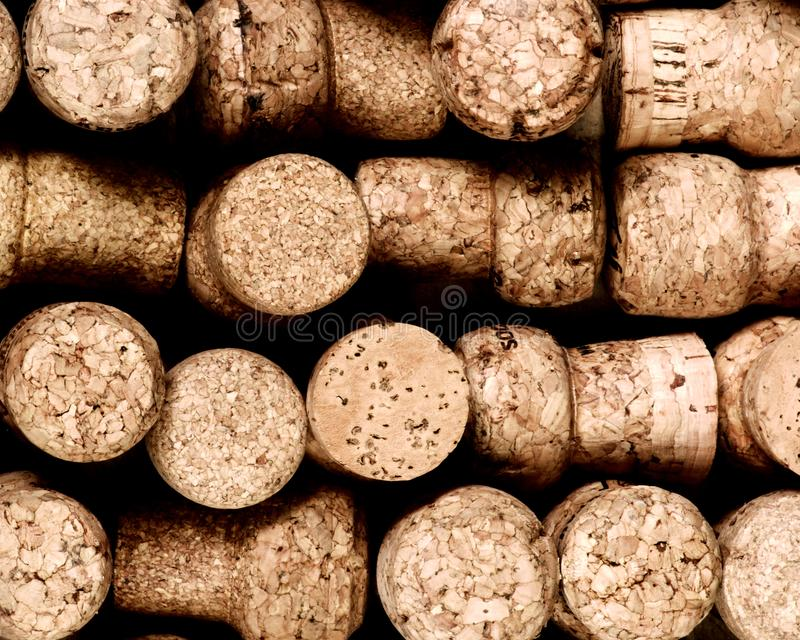 Champagne Corks Background. Background of Various Used Champagne Corks closeup. Selective Focus royalty free stock image