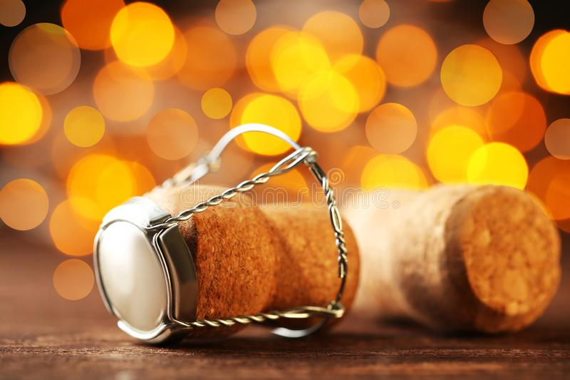 Champagne corks with cap. On light background stock photos