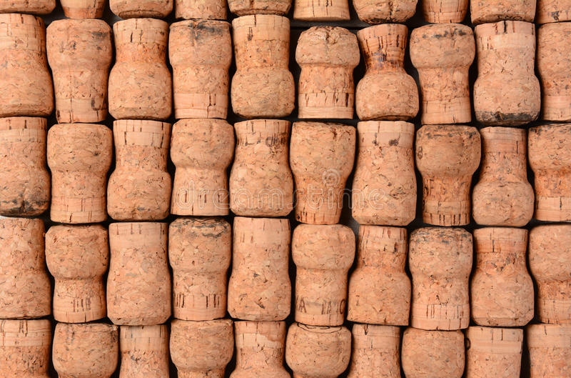 Champagne Corks. Closeup of a group of Champagne Corks. Horizontal format filling the frame stock image