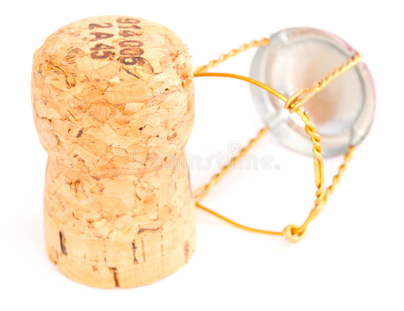 Champagne corks. Isolated on white royalty free stock photos