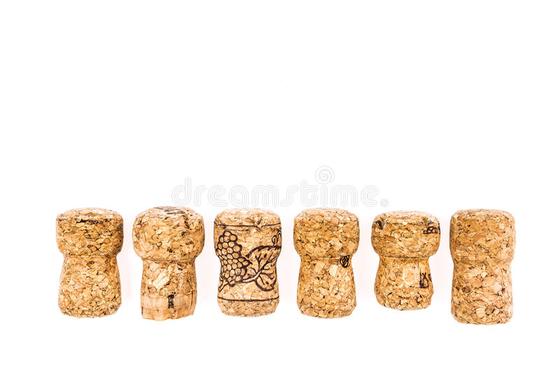 Champagne corks. Isolated on white royalty free stock images
