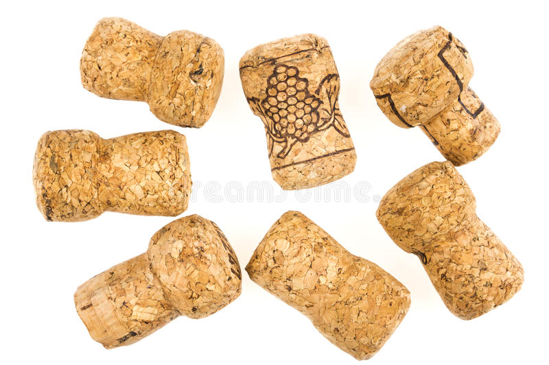 Champagne corks. Isolated on white stock images