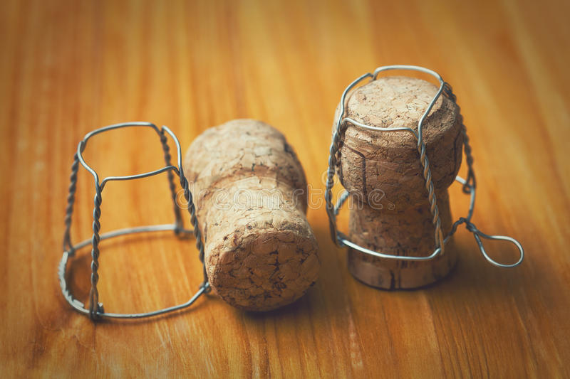 Champagne corks. Vintage style, New Year royalty free stock images