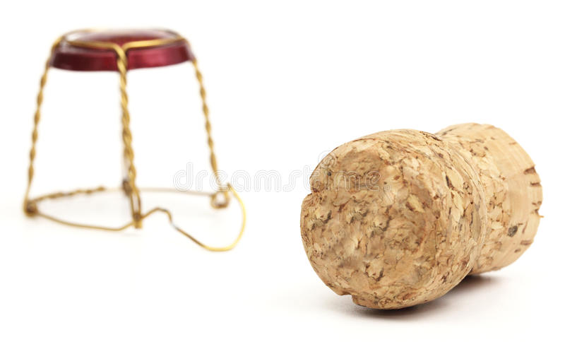 Champagne corks. On white background royalty free stock photos