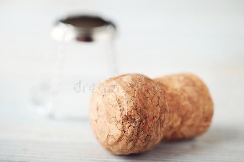 Champagne corks. On wooden table stock photo