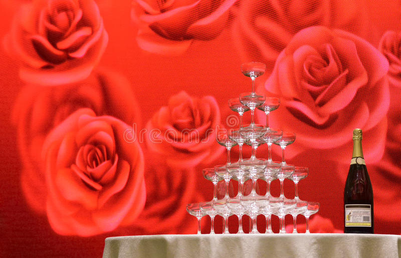 Festive red wedding venue royalty free stock photo