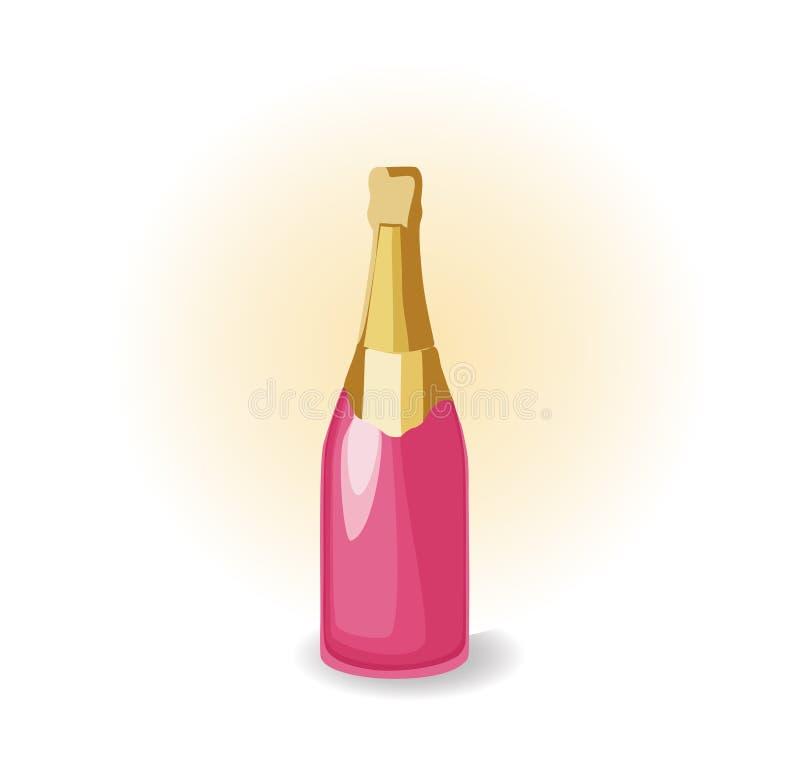 Champagne d'isolement dans une bouteille avec un dessus brillant illustration libre de droits