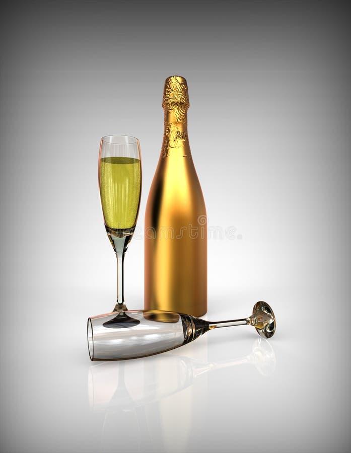 Champagne. 3D render image representing a bottle of golden champagne vector illustration