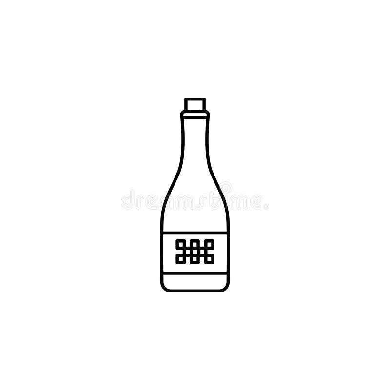 champagne de l'icône de gagnant Élément de l'emballage pour le concept et l'icône mobiles d'apps de Web Ligne mince icône pour la illustration libre de droits