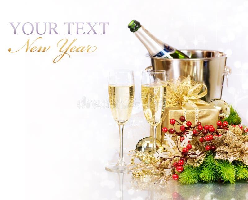 Champagne. De Viering van het nieuwjaar royalty-vrije stock foto