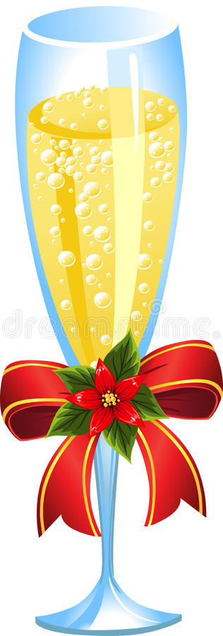 Champagne decoratin bow stock photo