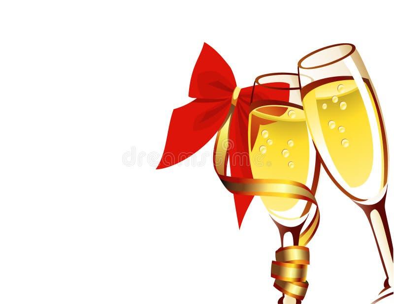 Champagne dell'illustrazione di vettore in due vetri illustrazione vettoriale