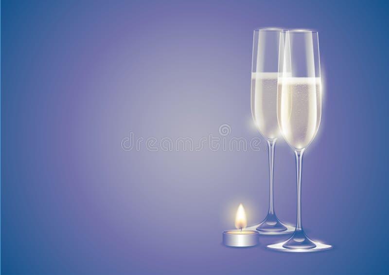 Champagne dois flautas ou vidros completos vela branca do vinho espumante e do Natal Cartão do feriado de inverno no fundo roxo d ilustração royalty free