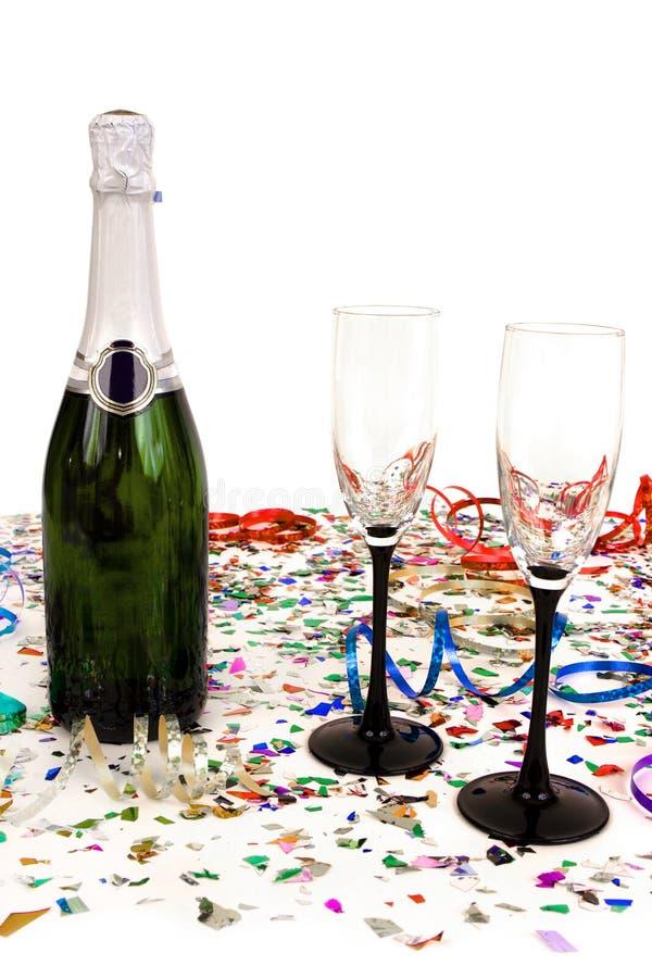 Champagne e confetti fotografia de stock royalty free