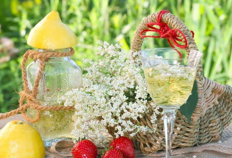 Champagne e fragole di sambuco immagini stock libere da diritti
