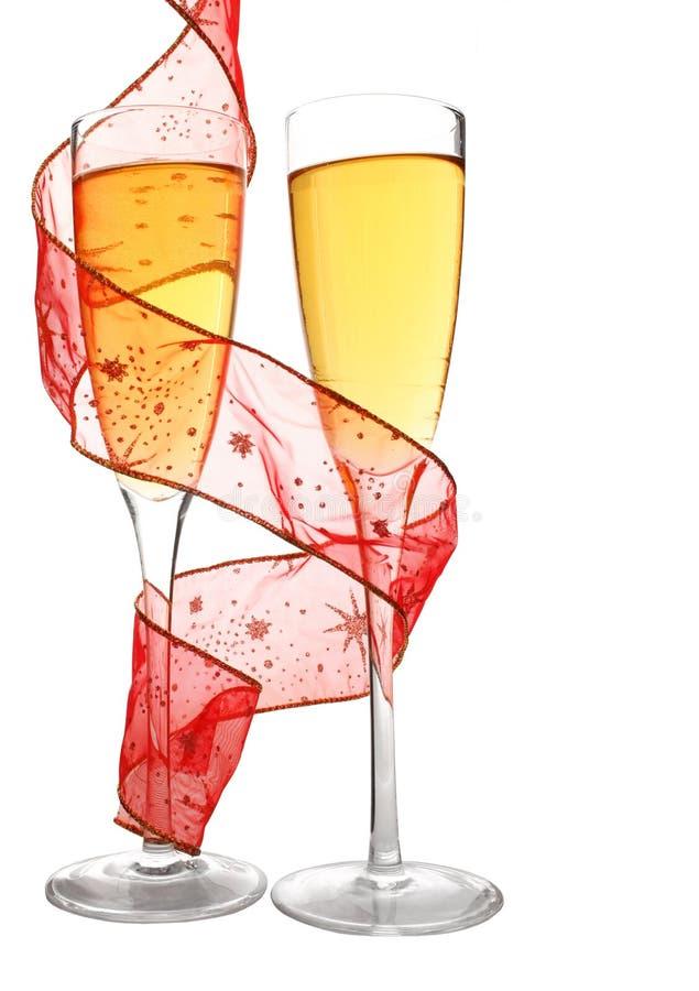 Champagne e nastro immagini stock