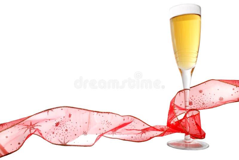 Champagne e nastro fotografia stock