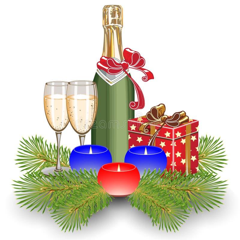 Champagne e velas ilustração stock