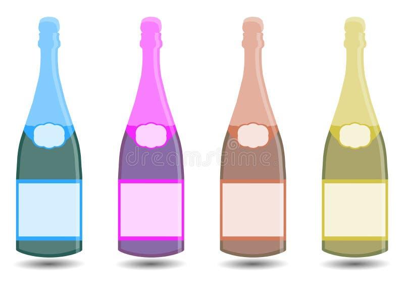 Champagne En buteljera av wine Vektorillustration i en plan stil stock illustrationer