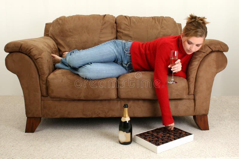 Champagne en Chocolade royalty-vrije stock fotografie