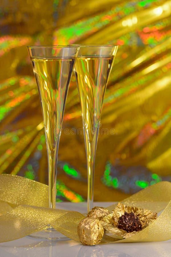 Champagne en chocolade royalty-vrije stock afbeeldingen