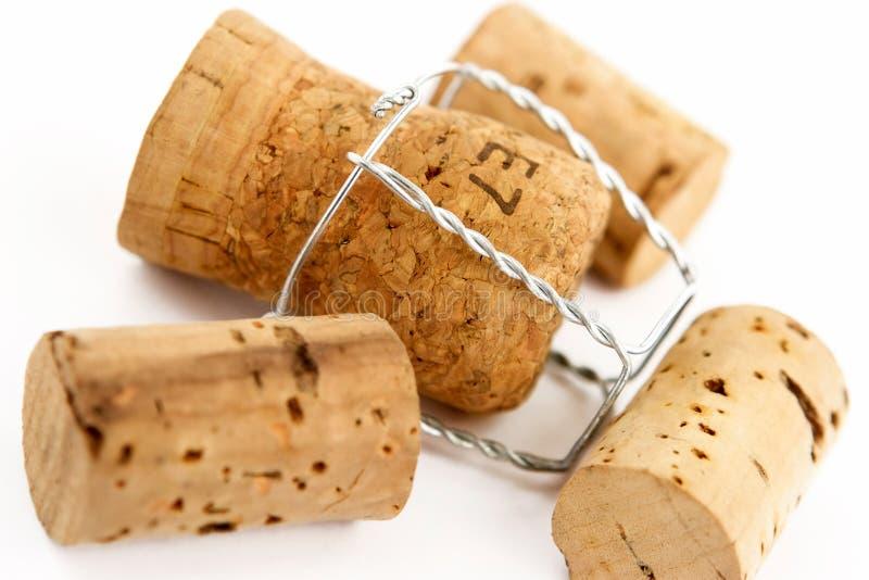 Champagne en de wijn kurken royalty-vrije stock afbeeldingen